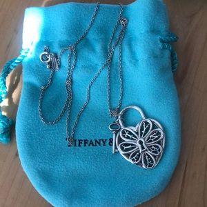 Tiffany & Co. Filigree heart and key necklace